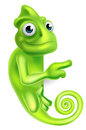 Pointing Cartoon Chameleon Royalty Free Stock Images - 66650489