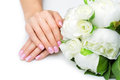 Woman Hands With French Manicure Royalty Free Stock Photos - 66654898