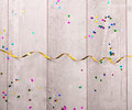 Wooden Board With Colorful Streamers Stock Image - 66655091