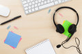 Office Desk With Headset. Call Center Support Royalty Free Stock Images - 66667439