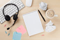 Office Desk With Headset, Notepad And Pc Royalty Free Stock Photos - 66667468