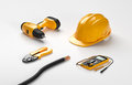 Electric Screwdriver, Helmet, Crimping Pliers Royalty Free Stock Photography - 66673457