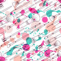 Vector Seamless Pattern With Makeup Brushes, Watercolor Blots And Splashes. Stock Images - 66678304
