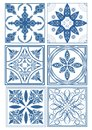 Set Of Vintage Ceramic Tiles In Azulejo Design With Blue Patterns On White Background, Traditional Spain And Portugal Pottery Royalty Free Stock Image - 66678696