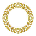 Golden Circle Ornament. Round Photo Frame.Gold Glitter Royalty Free Stock Photos - 66695878