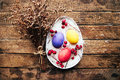 Easter Composition With Chicken Eggs On The Warm Wooden Background. Easter Composition With Fresh Eggs. Chicken Egg In The Nest. C Stock Photography - 66715452