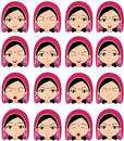 Muslim Girl In A Headdress Emotions: Joy, Surprise, Fear Stock Images - 66733214