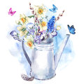 Spring Bouquet With Daffodils, Pansies, Muscari And Butterflies Stock Image - 66741281