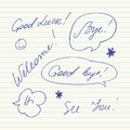 Handwritten Short Phrases. Good Luck, Good Bye, Welcome, Bye, Hi, See You.. Stock Image - 66761861