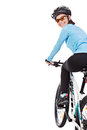 Adult Woman Cyclist Riding A Bicycle Looks Back And Smiling. Royalty Free Stock Photo - 66766135