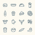 Fastfood Line Icon Set Stock Images - 66766394