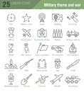 Vector Linear Icons Set For Military Infographics Stock Image - 66776511