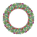 Floral Wreath, Spring Hand Drawn Frame. Nature Inspired Garland With Red Flowers. Stock Photography - 66783382