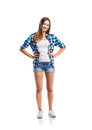 Girl In Shorts And Shirt, Arms On Hips, Isolated Royalty Free Stock Photography - 66787897