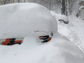 Car Under Snow, Natural Disasters Winter, Blizzard, Heavy Snow Paralyzed The City, Collapse. Snow Covered The Cyclone Europe Royalty Free Stock Photos - 66790278