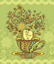 Zen-doodle Cup Of Tea With Flowers Yellow Green  Blue On Green Background Stock Photo - 66800930