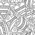Hand Drawn Artistically Ethnic Ornamental Seamless Pattern With Heart And Romantic Doodle Elements Stock Photo - 66801190