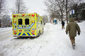 Yellow Ambulance Waiting On The Ontario Street In Montreal Royalty Free Stock Image - 66805076