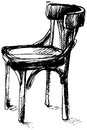 Vector Sketch Of Viennese Bent Wood Chair Royalty Free Stock Images - 66819859