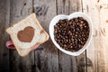Bread Slice With Heart Shape And Coffee Beans Stock Images - 66835664