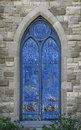 Blue Stained Glass Church Window Royalty Free Stock Photo - 66840275