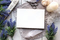 Artifical Lavender Flowers And Blank Paper Mockup. Stock Photography - 66847702