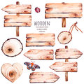 This Handpainted Collection Of 9 Watercolor Wood Slices Clipart. Stock Photography - 66851482