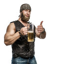 Beard Man Drinking Beer From A Beer Mug. Stock Image - 66852801