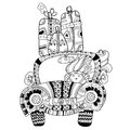 Hand Drawn Doodle Outline Holiday Car Travel Royalty Free Stock Photography - 66853337