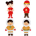 Set Of Isolated Children Of Chinese And Eskimo Nationalities Stock Photography - 66856522