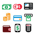 Money, ATM - Cash Machine Vector Icons Set Royalty Free Stock Photography - 66881737