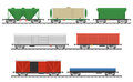 Essential Trains. Collection Of Freight Railway Cars. Royalty Free Stock Image - 66905966