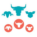 Set Of Farm Animals Heads Flat Icons Stock Photography - 66912592