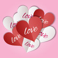 Paper Hearts With The Lettering Love. Stock Photography - 66926682