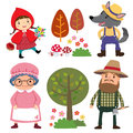 Set Of Characters From Little Red Riding Hood Fairy Tale Royalty Free Stock Images - 66933729