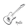 Electric Guitar Hand Drawn Stock Image - 66951091