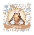 Cute Bear And His Little Bunnies. Hand Drawn Watercolor Illustration. Happy Easter Card Royalty Free Stock Image - 66958946