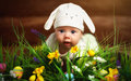 Happy Child Baby Dressed As The Easter Bunny Rabbit On The Grass Stock Image - 66963441