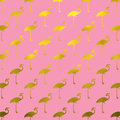 Gold Flamingos Pattern Flamingo Faux Foil Polk Dots Pink Stock Image - 66963541