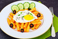 Pasta With Egg And Chia Seeds Royalty Free Stock Images - 66966469