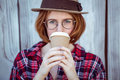 Beautiful Hipster Woman Drinking Coffee Royalty Free Stock Photo - 66970225