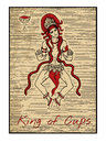 The Tarot Cards In Red. King Of Cups Royalty Free Stock Photo - 66978395