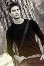 Man Model Natural And Beautiful / Sweet Lover Boy. Black And White Stock Image - 66981191