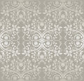 Seamless Silver Detailed Lace Flowers And Leaves Wallpaper Royalty Free Stock Image - 66985316