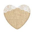 Burlap Heart With Lace Isolated On White Stock Photo - 66989270