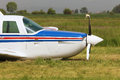 Front Of A Private Airplane With A Severely Damaged Propeller Stock Photo - 66994650