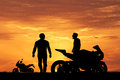 Bikers At Sunset Royalty Free Stock Photo - 66995835