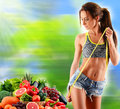 Balanced Diet Based On Raw Organic Vegetables And Fruits Royalty Free Stock Photo - 66996475