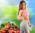Balanced Diet Based On Raw Organic Vegetables And Fruits Stock Photo - 66996600