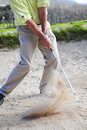 Golfer Playing Out Of A Sand Trap Royalty Free Stock Image - 6701736